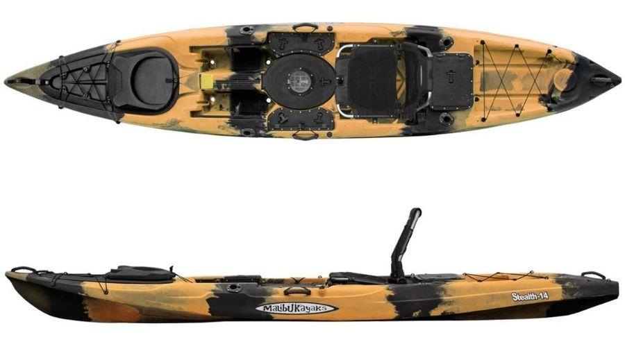 A display of the Malibu Kayaks Stealth-14. #4 best fishing kayak for big guys.