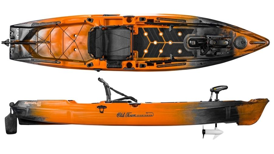 A display of the Old Town Sportsman Autopilot 136. #1 best fishing kayak for big guys.