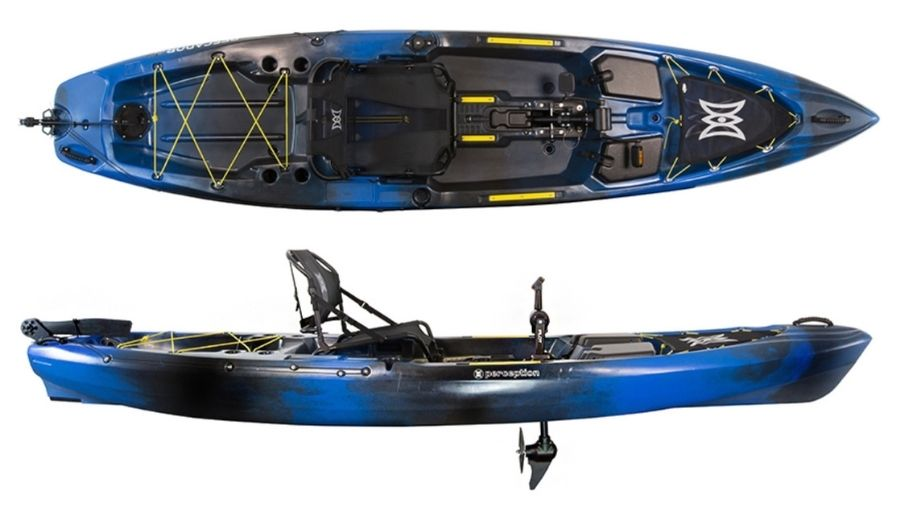 A display of the Perception Pescador Pilot 12. #5 best fishing kayak for big guys.
