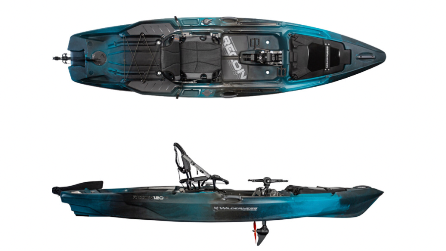 A display of the Wilderness Systems Recon 120HD. #3 best fishing kayak for big guys.