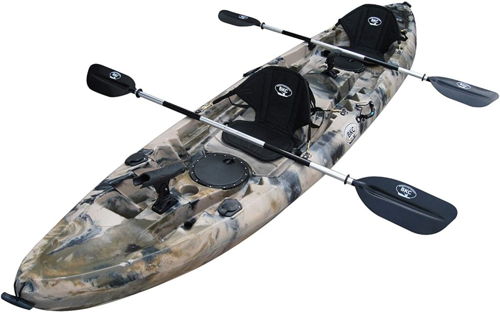 An image of the BKC TK181. One of he best 2 person fishing kayaks.