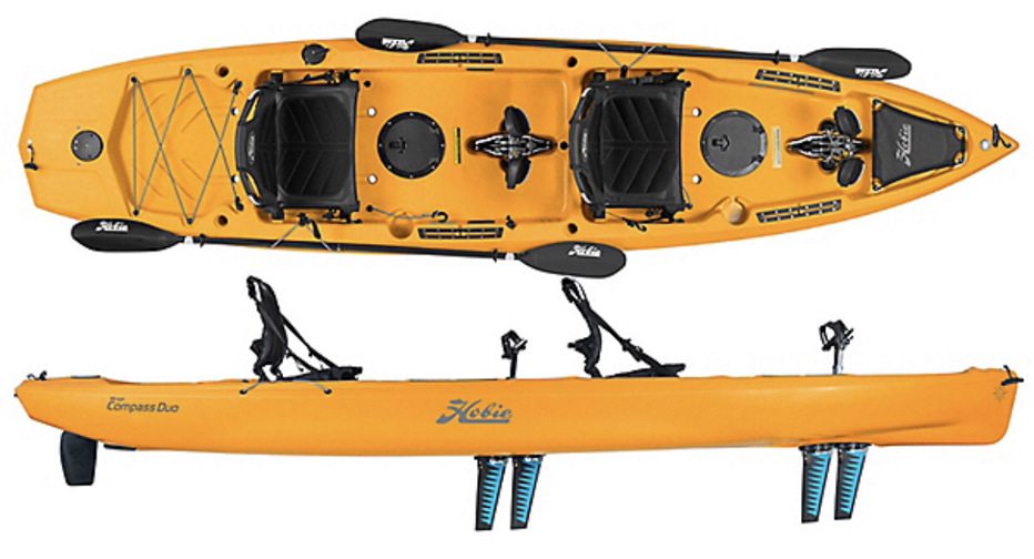 An image of the Hobie Mirage Compass Duo. #2 on the list of the best 2 person fishing kayaks.