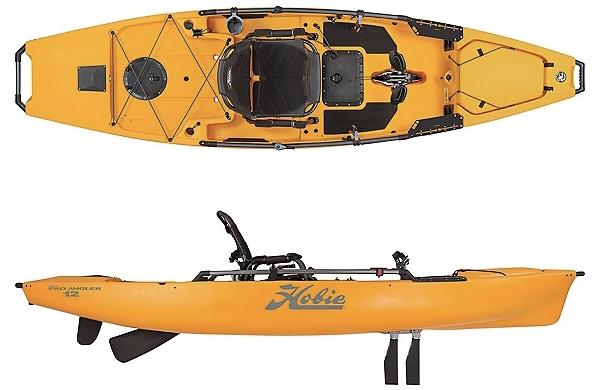 A display of the Hobie Mirage Pro Angler 12 fishing kayak.