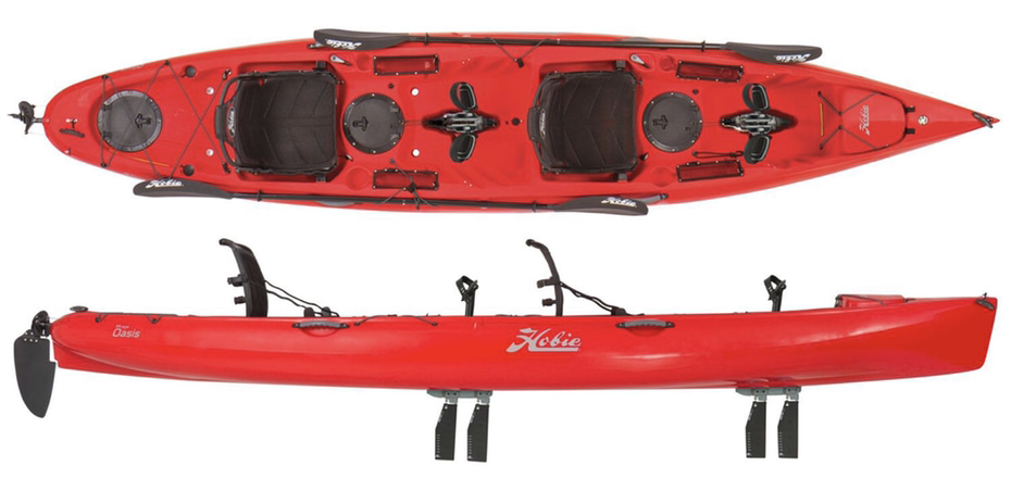 An image of the Hobie Oasis tandem fishing kayak. #1 on the list of the best 2 person fishing kayaks.