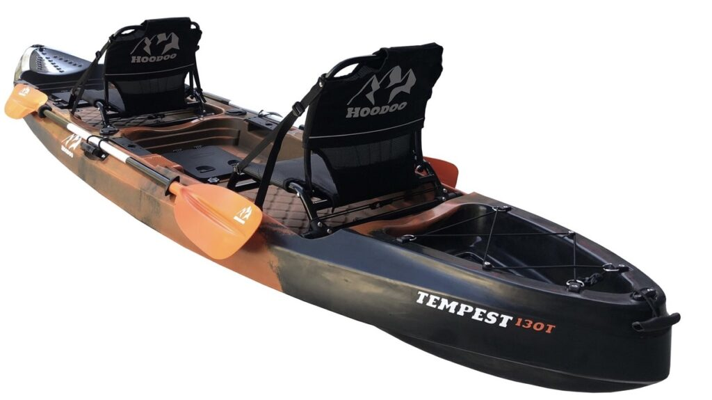 An image fo the Hoodoo Tempest 130T. One of he best 2 person fishing kayaks.