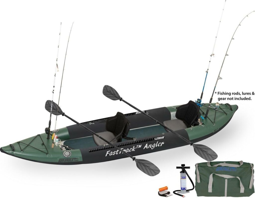 An image of the Sea Eagle 385 FTA Pro. #8 of the best 2 person fishing kayaks.