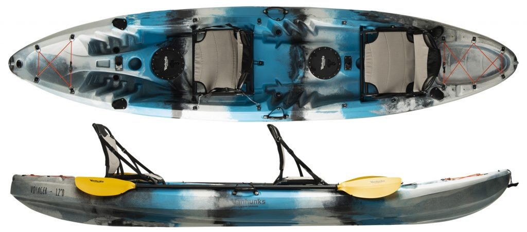 An image of the Vanhunks 12' Voyager Deluxe. One of he best 2 person fishing kayaks.