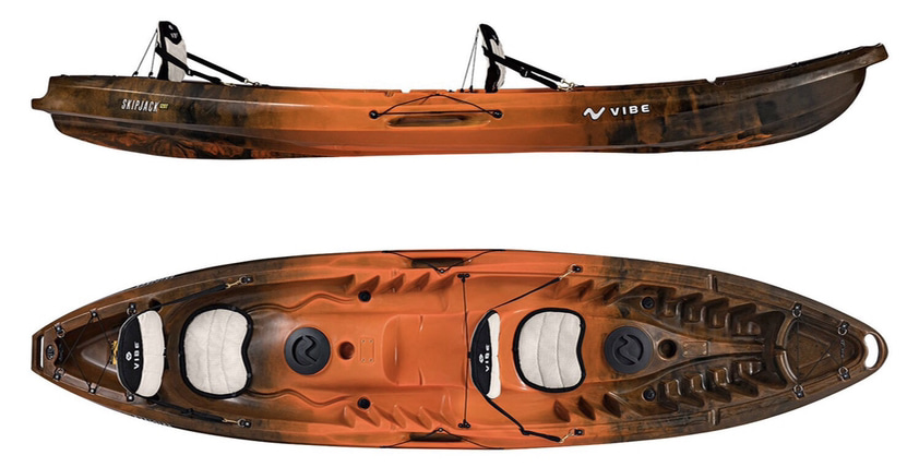 An image of the Vibe Kayaks Skipjack 120T. One of he best 2 person fishing kayaks.