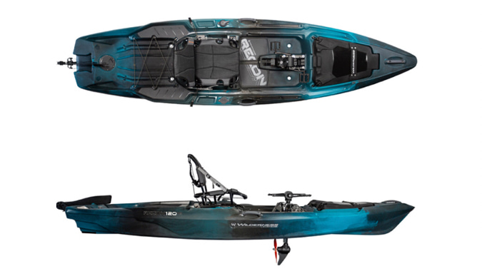 A top and side image of the the Wilderness Systems Recon 120HD.
