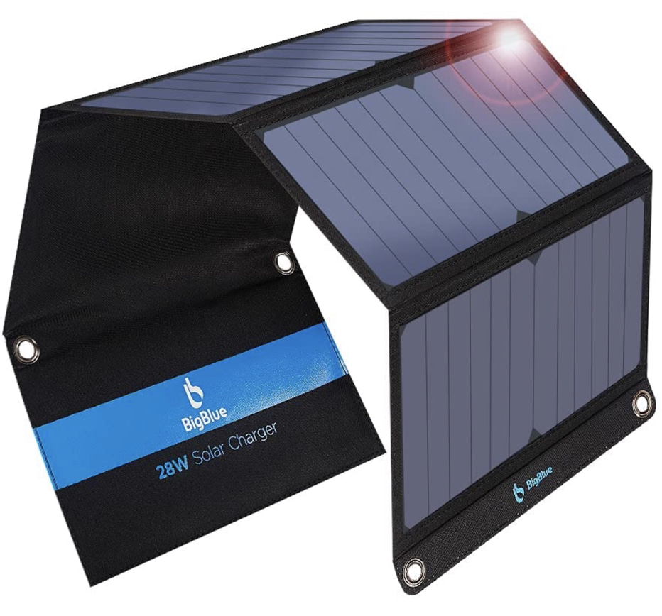 A display of the Big Blue 3 Portable Solar Charger