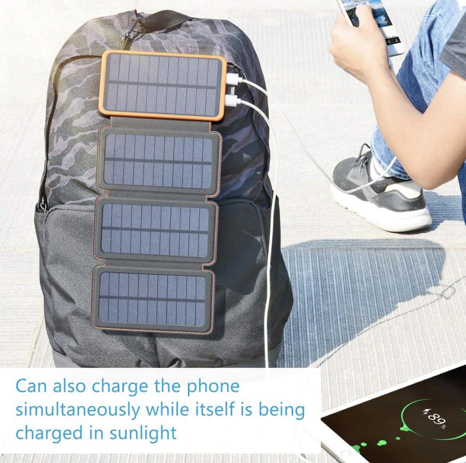 Feelle 25000mAh Solar Power Bank Display