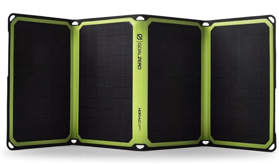 A display of the Goal Zero Nomad 28 Plus Solar Panel