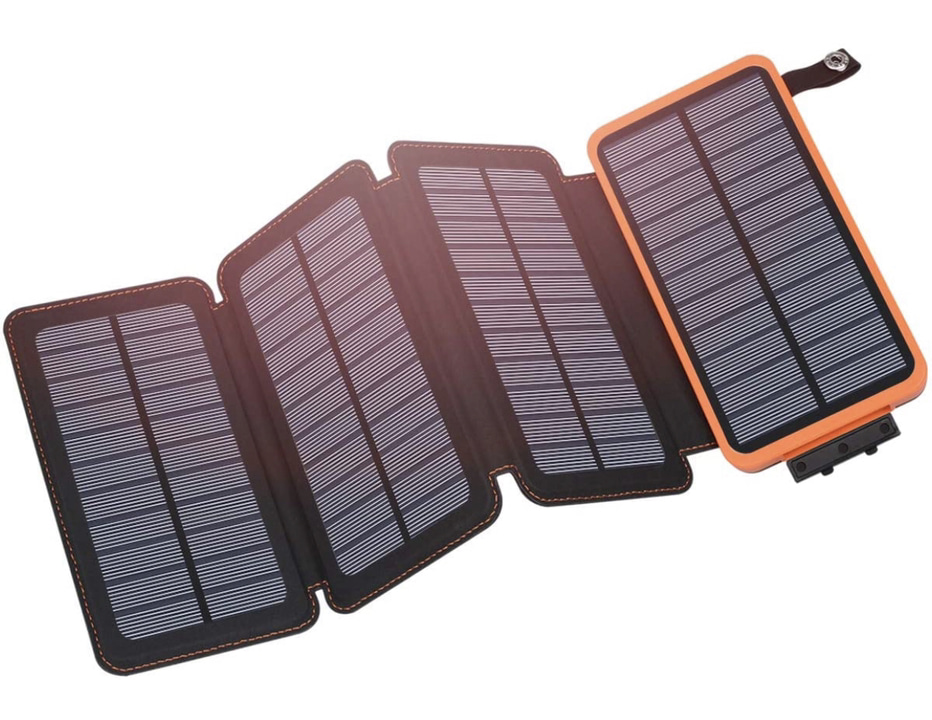 A display of the  Hiluckey Portable Solar Charger