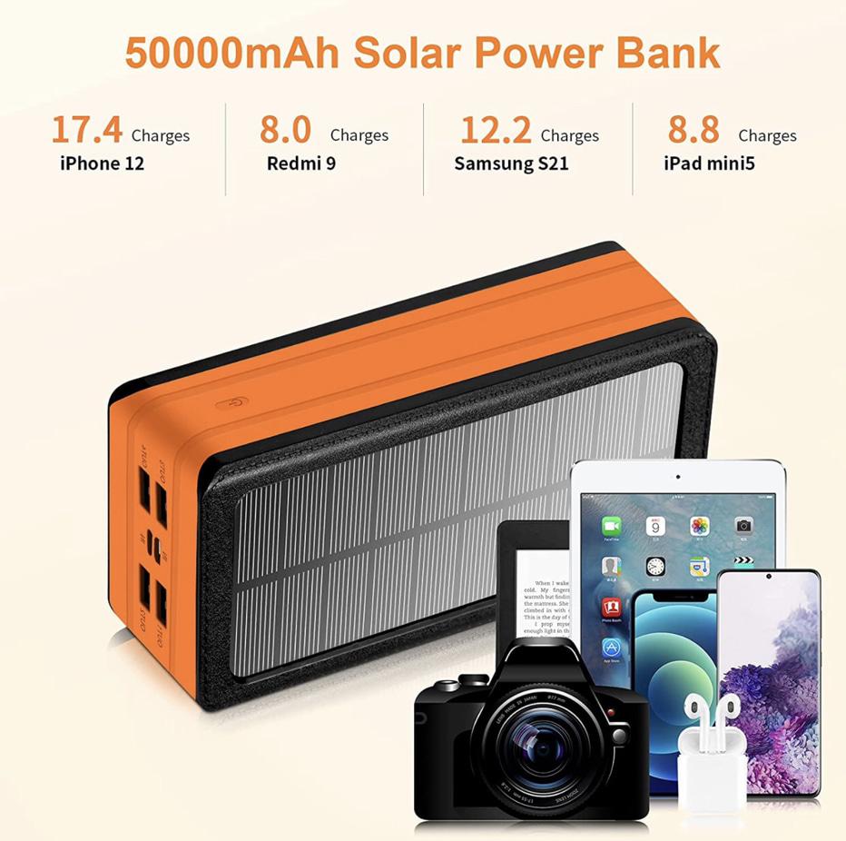 PSOOO 50000mAh Solar Power Charger Display