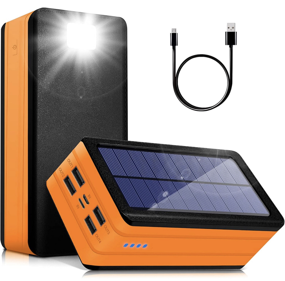 A display of the PSOOO 50000mAh Solar Power Charger