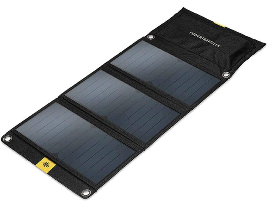 A display of the PowerTreveller Falcon 21 Solar Panel
