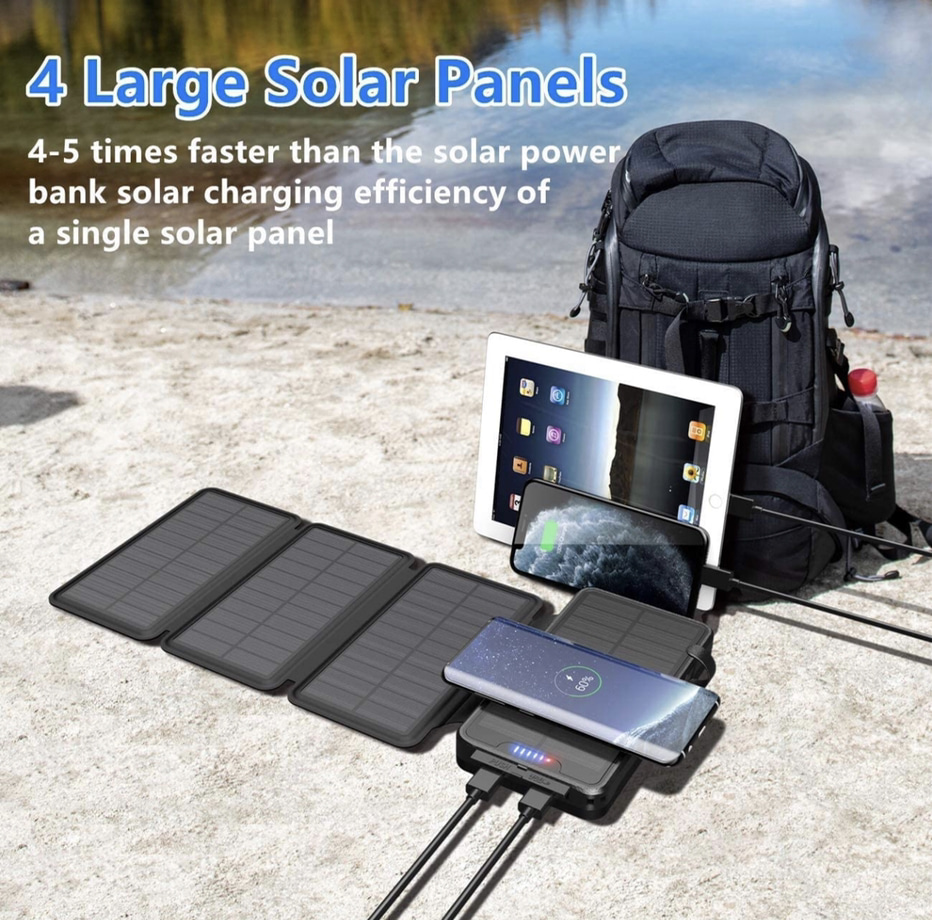 The Qisa Solar Charger 35800mAh Solar Power Bank In Use