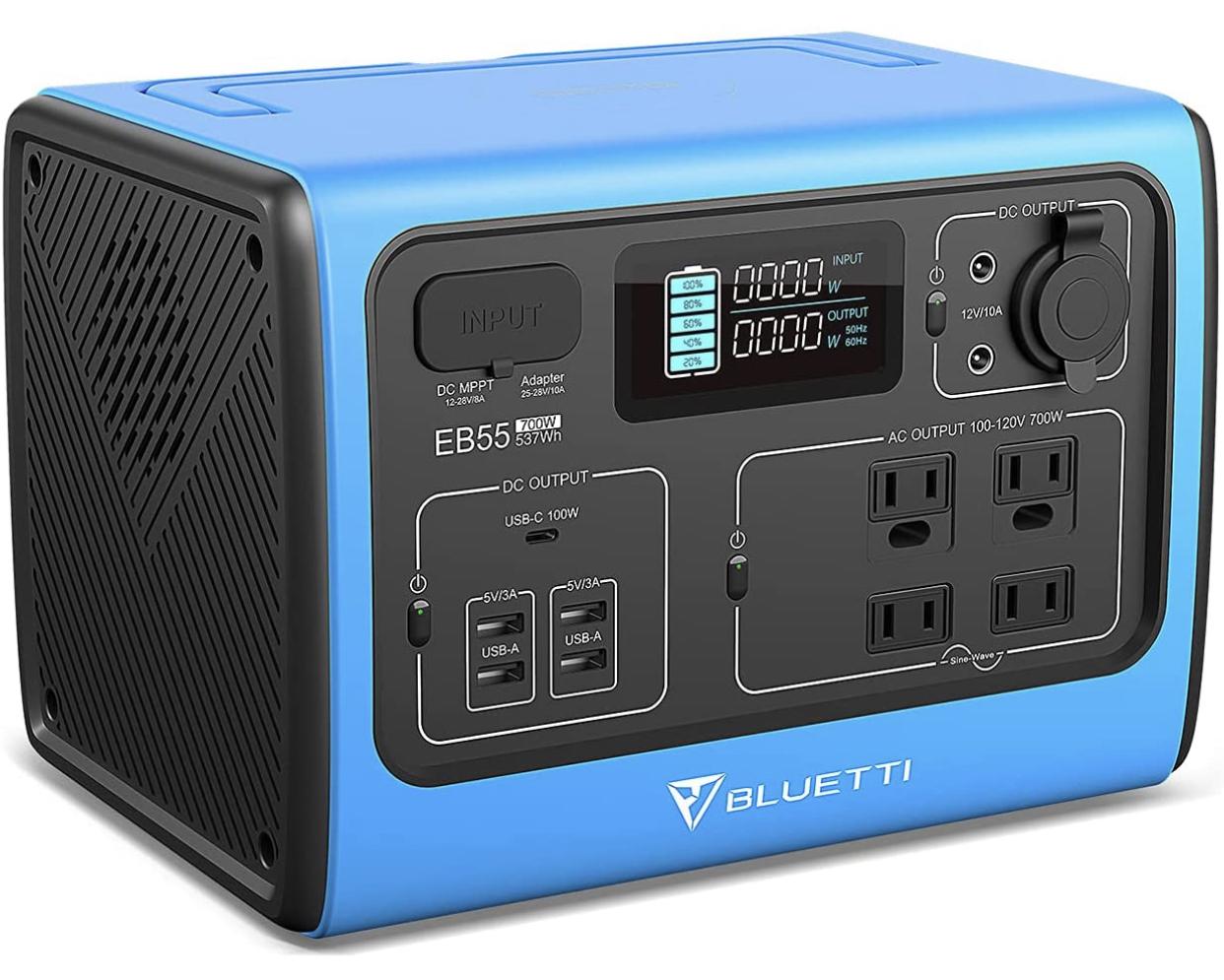 A display of the BLUETTI EB55 portable solar generator