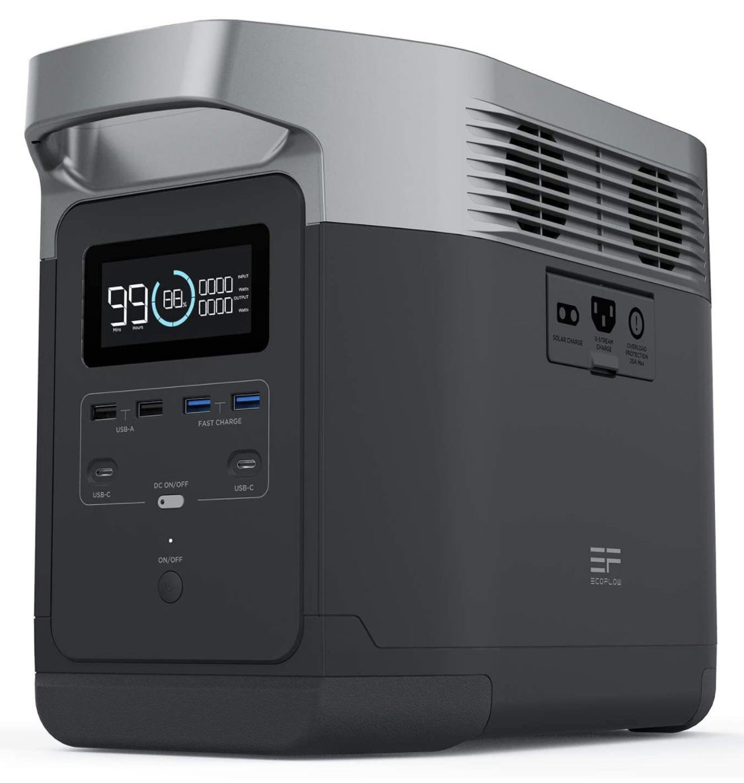 A display of the EF Ecoflow DELTA portable solar generator