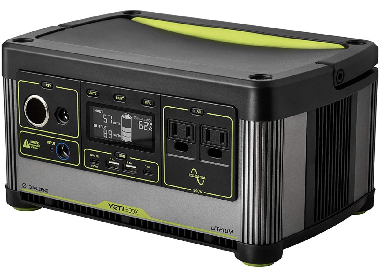 A display of the Goal Zero Yeti 500X portable solar generator