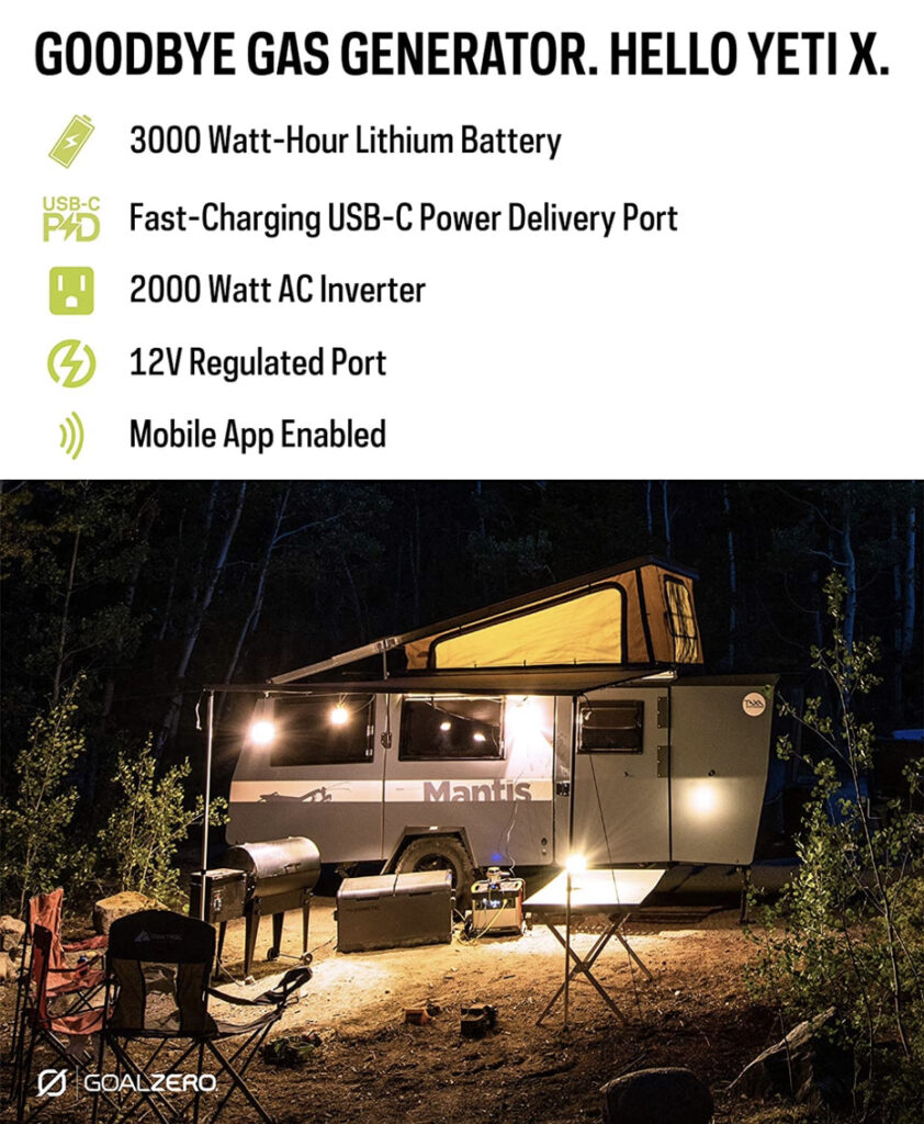 A display of the Goal Zero Yeti 3000X shown while camping.