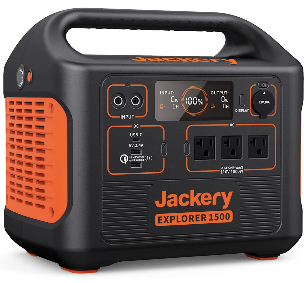 A display of the Jackery Explorer 1500 portable solar generator.