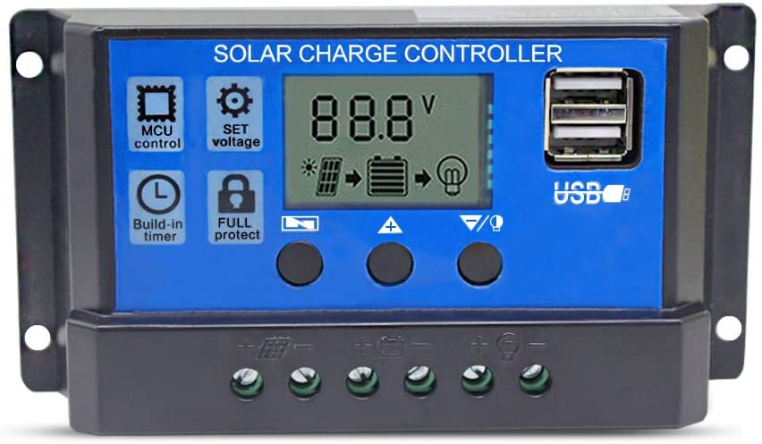 a display of a stand alone solar charge controller