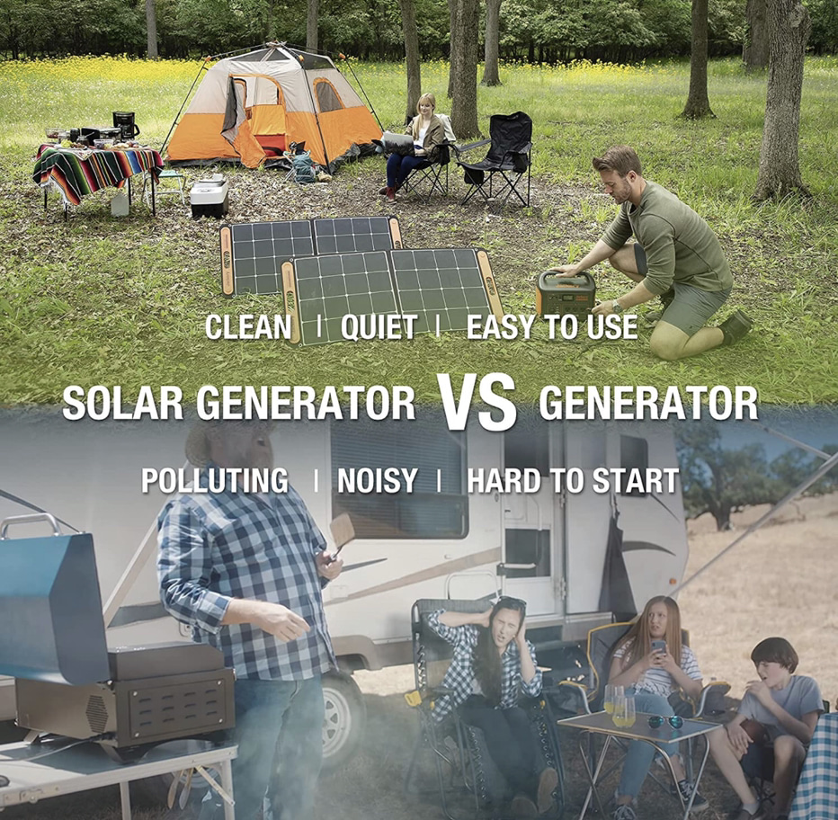 A photographic display showing that a solar generator is cleaner, quieter and easier to use than a gas generator